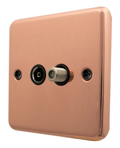 G&H CBC38B Standard Plate Bright Copper 1 Gang TV Coax & Satellite Socket Point